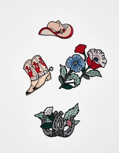 Набор из 4 декоративных нашивок в ковбойском стиле