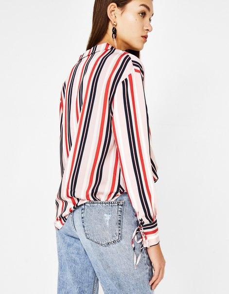 Рубашка с запахом и лацканами