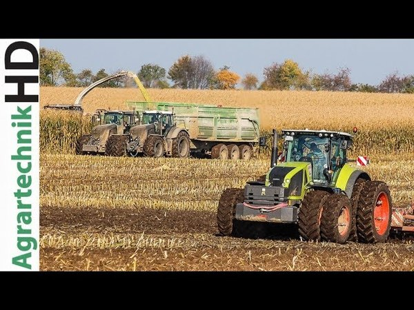 CHALLENGER CLAAS Axion Tractor Tillage with HORSCH equipment