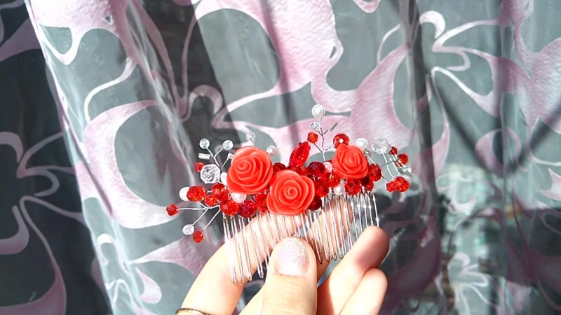гребень в прическу красная роза