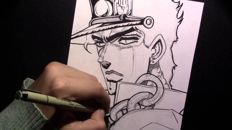 Speed Drawing Jotaro from Jojo's Bizarre adventure: Stardust Crusaders