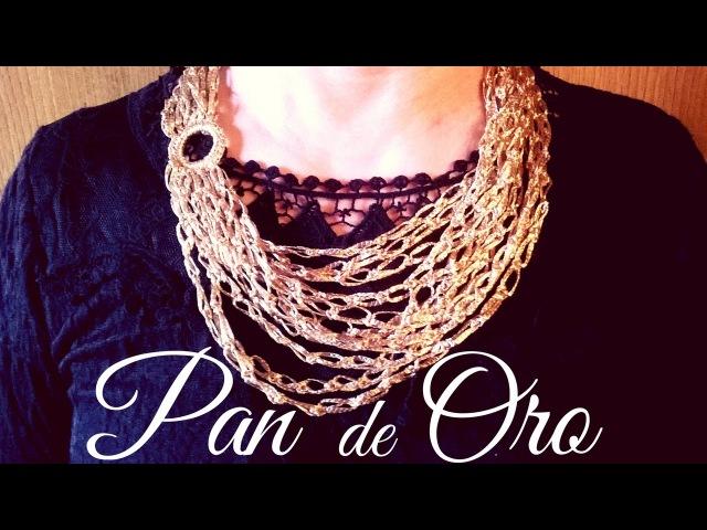 Collar exclusivo pan de oro ganchillo crochet