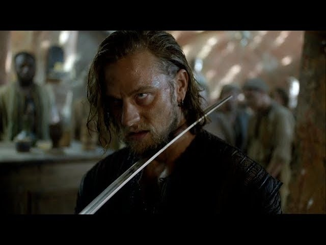 Black Sails S2E2 Ned Low fights and kills Eleanor Guthries Bodyguard