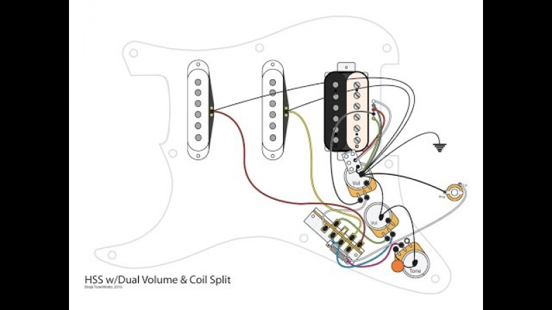 HSS Guitar w/Dual Volumes, Master Tone and Coil Split