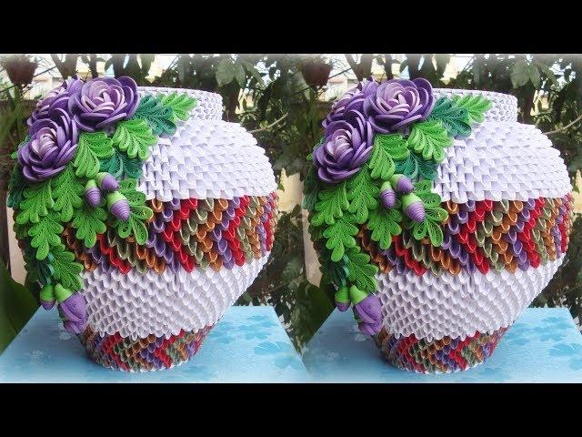 HOW TO MAKE 3D ORIGAMI FLOWER VASE V6 | DIY PAPER FLOWER VASE HANDMADE DECORATION