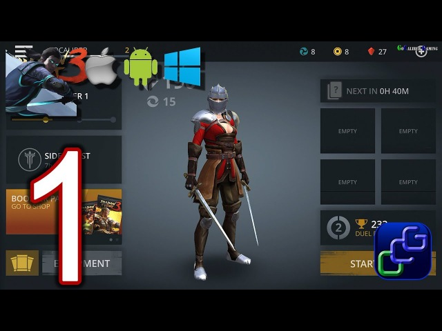 Shadow Fight 3 Android iOS Walkthrough - Part 1 - Chapter 1, Side Quest, DUEL