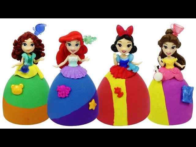 Куклы Принцессы Диснея и НАРЯДЫ ИЗ КИНЕТИЧЕСКОГО ПЕСКА. Принцессы Ариэль Мерида...