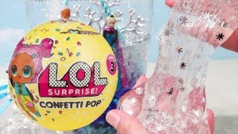 LOL Confetti Pop Slime Transparente Com Anna e Elsa do Frozen -Brinquedonovelinhas