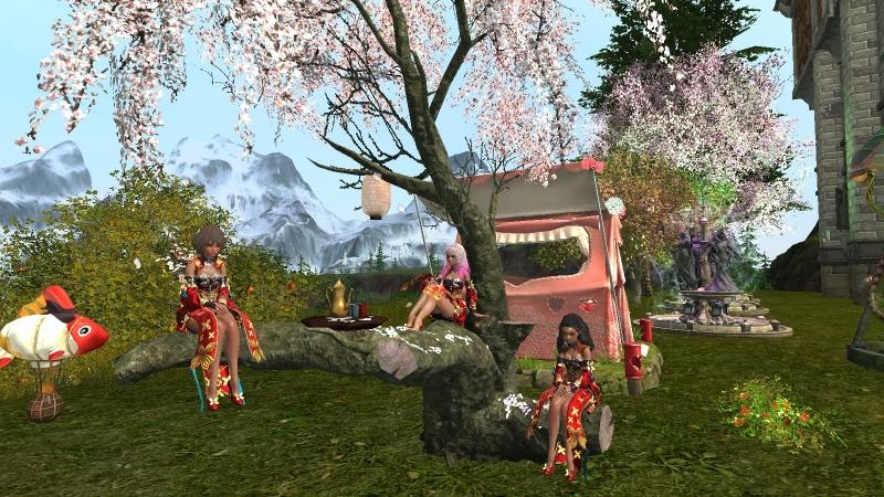 ArcheAge. Творческий коллектив Очарование ренессанса. Цветущая сакура. Праздник цветущей вишни. Порт Лютни