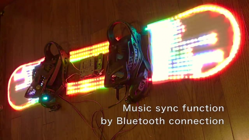 光るスノーボードVer2 コンセプト (LED snowboard v2 concept, グラトリ用LEDスノー