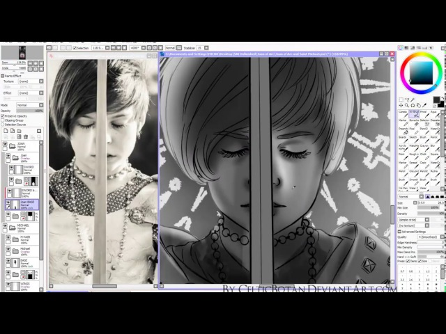 [speed paint] Paint Tool SAI: VOICES OF LIGHT - Joan of Arc and Saint Michael, The Archangel