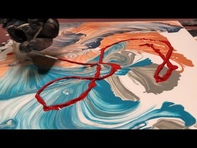 Fluid Painting Acrylic STRING SWIPE Fluid Art WIGGLZ ART Please Share and Subscribe