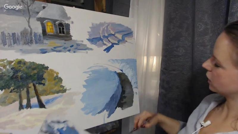 Какой краской правильно писать снег при разном освещении. Надежда Ильина