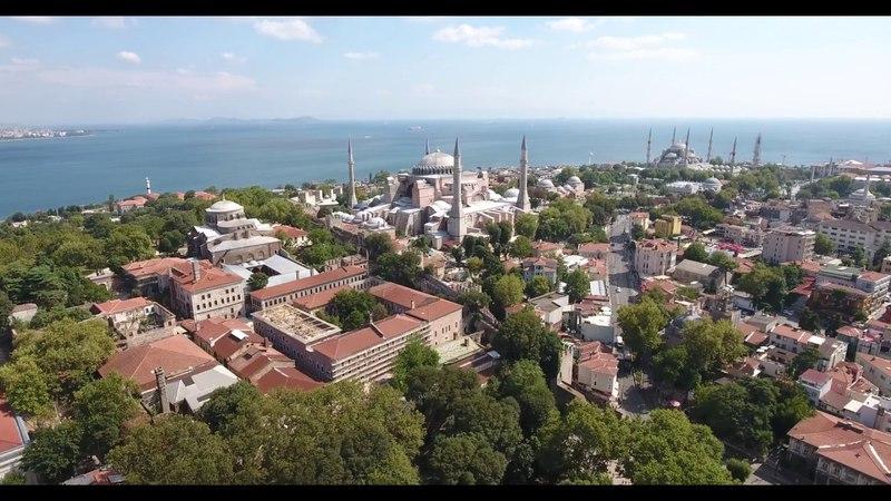 Shooting aerial shots of the Hagia Sophia mosque drone Turkey Istanbul Ayasofya