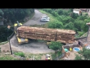 Водительское мастерство! Лесовоз проезжает по узкому мосту.