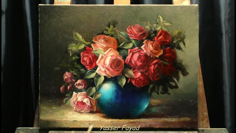 3 Oil painting vase with roses by Yasser Fayad