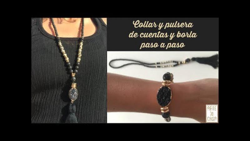 Collar y pulsera de borla y piedras semipreciosas (jaspe dálmata y lava volcánica)