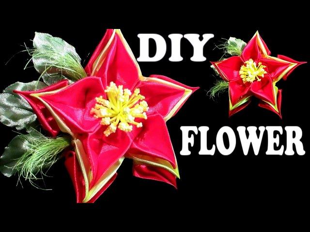 DIY ribbon flower, How to make kanzashi flowers tutorial, Цветы канзаши из лент