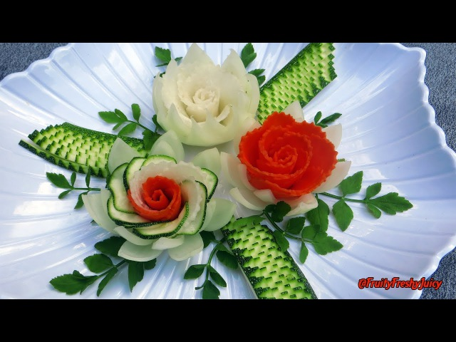 Elegant Garnish of Carrot, Radish Zucchini Rose Flowers with Onion Cilantro Designs *DIY