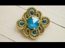 Брошь сутажная золотая с голубым Azur Blue
