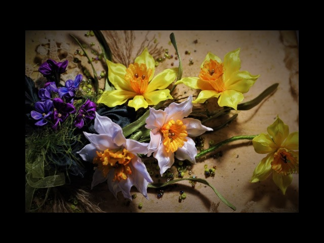 Создаём КАРТИНУ из КАНЗАШИ Мастер класс DIY Ribbon Flower Kanzashi