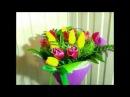 Как сделать букет из тюльпанов. How to make a bouquet of tulips.
