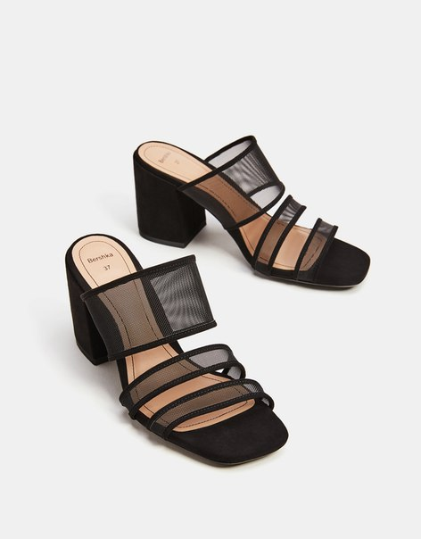 Босоножки на каблуке, из сетчатого материала