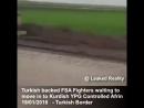 Колона машин боевиков FSA ждут приказа войти в курдский кантон Африн