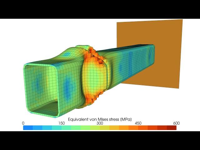 Dynamic axial crushing of a rectangular tube