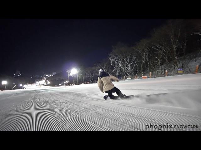 휘팍ㅣ파노라마에서 시원한 백야 스노우보드 프리라이딩ㅣ Snowboarding at night