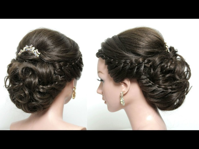 Bridal Hairstyle For Long Hair Tutorial. Soft Braided Updo