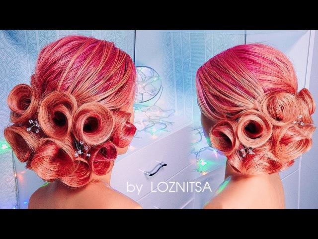 Amazing Roses Hairstyle Tutorial. New Hairstyle 2017 ★СВАДЕБНАЯ Прическа из роз на средние волосы