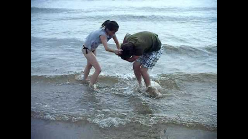 Cindy and Spencer mom and Son Wrestling in Lake Michigan Ludington