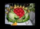 Sculture vegetali per sala e bar decorazioni da bicchiere e presentazioni di frutta
