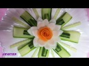 Attractive Carrot Rose Laying On Onion Lotus Flower With Beautiful Cucumber Crafting Designs.