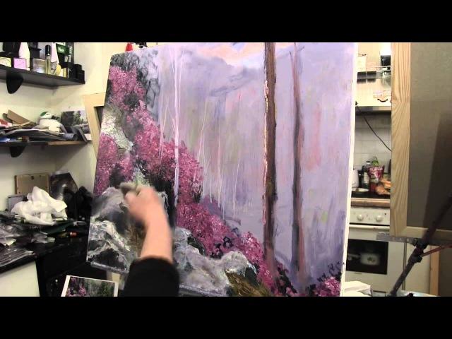 Научиться рисовать лес, валуны, уроки рисования в Москве, живопись малом для начинающих