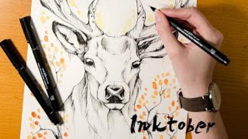 Speed Drawing Deer Autumn - INKTOBER