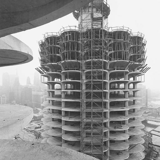 Marina City construction over Wacker Drive and the Chicago River c.