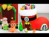 ( https://vk.com/lakomkavk) How To Make a SANTA BOOT HOUSE Cake by Cakes StepbyStep