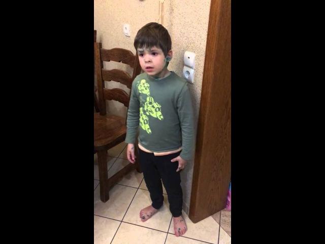 Мальчик защищает мышь и ругает папу.