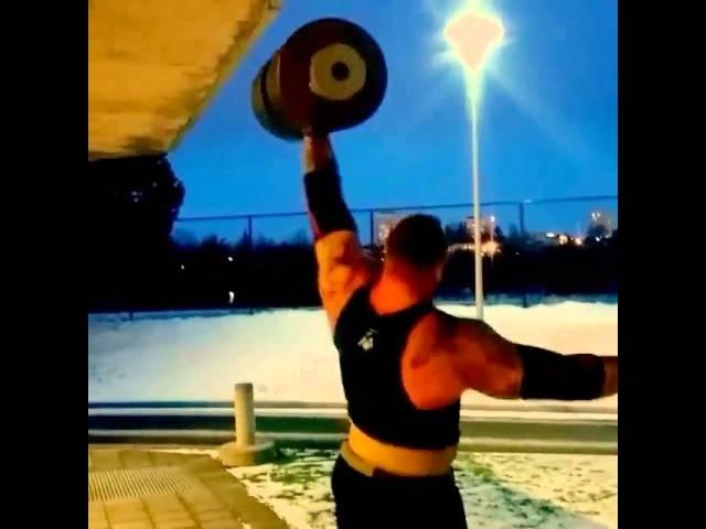Хафтор Бьёрнссон, гантель - 126 кг, подготовка к АК - 2015.