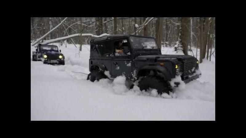 Land Rover defender 90 feat 110 HCPU drive in deep snow/ езда по очень глубокому снегу