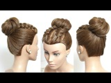 Easy Hairstyle For Long Hair Tutorial. Braids And  High Bun. Updo