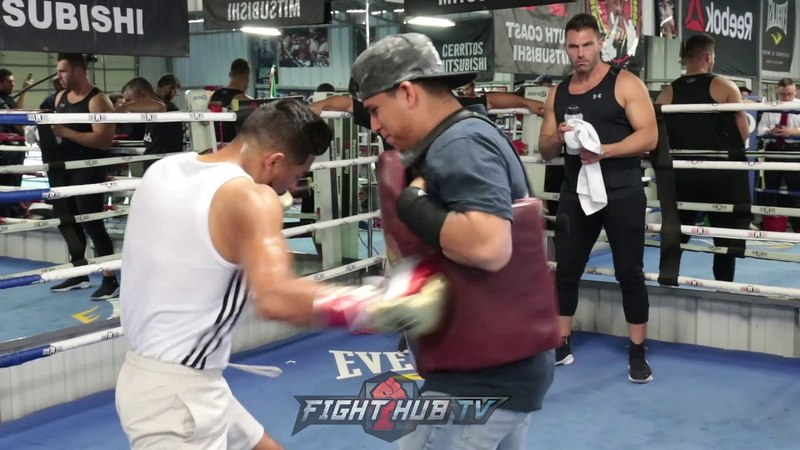 ABNER MARES ATTACKING THE BODY SHIELD LIKE A BEAST IN TRAINING FOR LEO SANTA CRUZ REMATCH!
