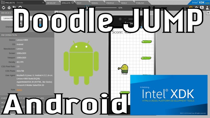 Intel XDK уроки, Создание игры Doodle Jump для Android
