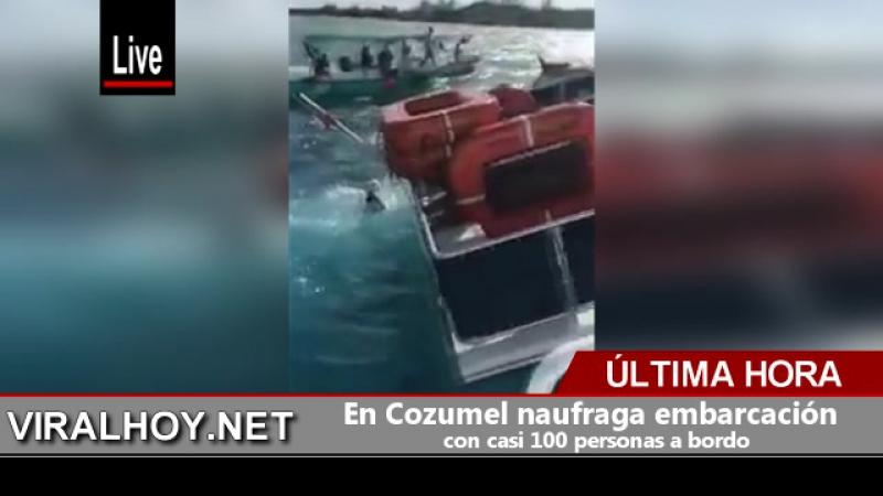 En Cozumel naufraga embarcación con casi 100 personas a bordo