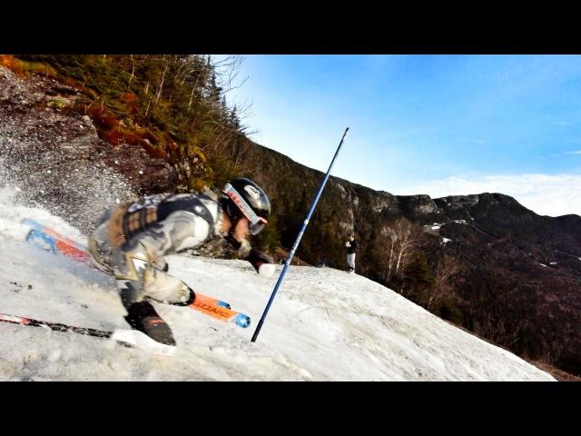 Skiing slalom through the moguls in Stowe, VT