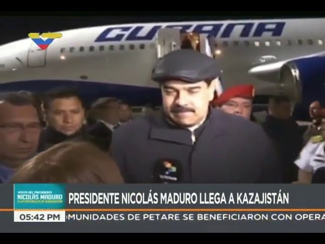 Presidente venezolano Nicolás Maduro llega a Kazajistán para cumbre países petroleros