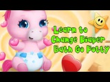 Pony Sisters Baby Pet Care - Learn to Change Diaper Bath Go Potty - Fun Horse Care Game for kids