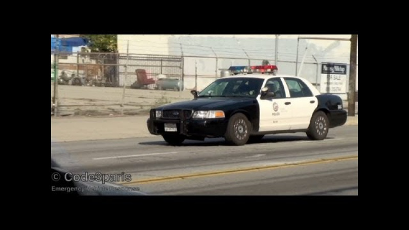 Police Car Responding and Arriving on Scene - LAPD